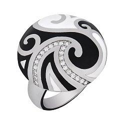 Кольцо в белом золоте с бриллиантами и эмалью 000073457