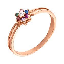Кольцо в красном золоте с фианитами 000121323