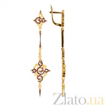 Серьги из желтого золота с коньячными и белыми фианитами Кассиопея VLT--ТТТ2282