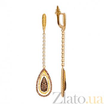 Серьги-подвески из желтого золота с цирконием Кристин VLT--ТТ2297