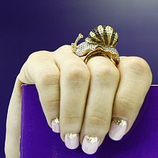 Кольцо из желтого золота с фианитами Улитка