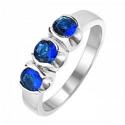 Серебряное кольцо Роса с тремя синтезированными сапфирами