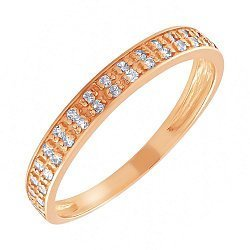 Кольцо из красного золота с фианитами 000064204