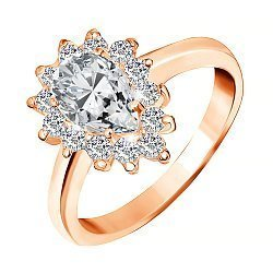 Позолоченное серебряное кольцо с фианитами 000028404