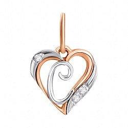 Золотой кулон-сердце Буква С в комбинированном цвете с фианитами 000096629