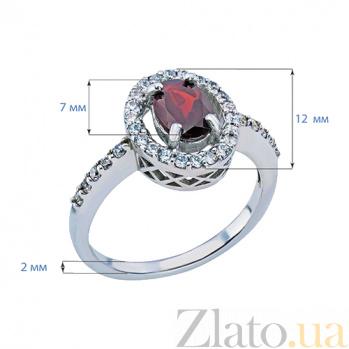 Серебряное кольцо с гранатом и цирконами Лаура AQA--R00954G