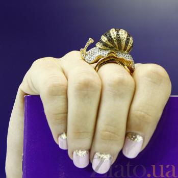 Кольцо из желтого золота с фианитами Улитка VLT--Т120-1