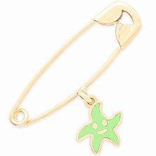 Золотая булавка с подвеской Морская звезда в желтом цвете с салатовой эмалью