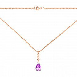Колье в комбинированном цвете золота с аметистом и фианитами 000137182