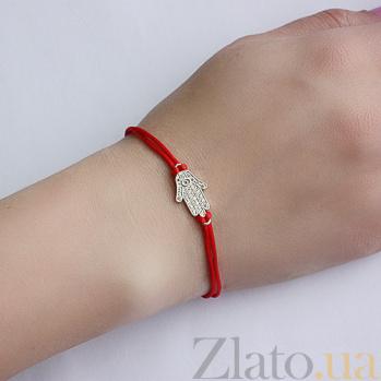 Шёлковый браслет Хамса с серебряной вставкой и цирконием 000030697