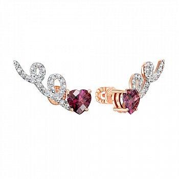 Сережки-пусети з червоного золота з цирконієм Swarovski та родіюванням 000138733