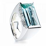 Кольцо Argile-Z с аквамарином и бриллиантами