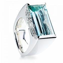 Кольцо Argile-Z с аквамарином и бриллиантами 000013559