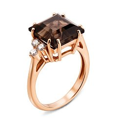 Кольцо из красного золота с раухтопазом и бриллиантами 000131384