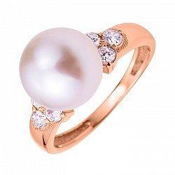 Кольцо из красного золота с жемчугом и фианитами 000104599
