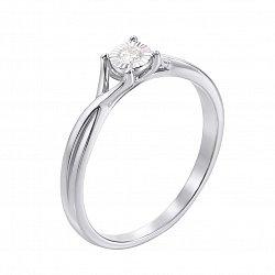 Кольцо в белом золоте Нежные прикосновения с бриллиантом