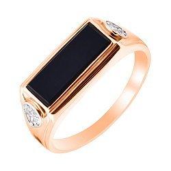 Золотой перстень-печатка Джонатан в комбинированом цвете с черным ониксом и фианитами