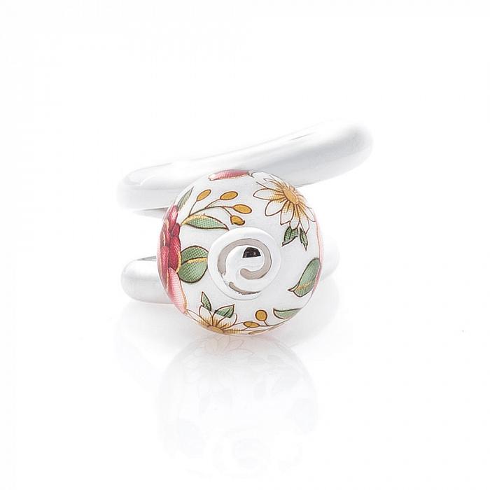 Серебряное двойное кольцо Акулина с керамикой микс 000080128
