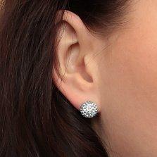 Серебряные пуссеты-шары Блеск со светло-аквамариновыми кристаллами Swarovski