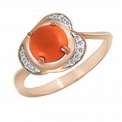 Кольцо из красного золота Ореста с кораллом и бриллиантами 000043704