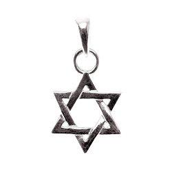 Серебряный кулон Star of David с чернением на шнурке с регулирующимся размером 000091290