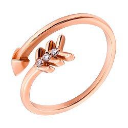 Золотое кольцо с тремя фианитами 000070801