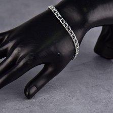 Серебряный браслет Танти в плетении бисмарк с чернением, 5мм