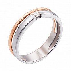 Золотое раздвоенное кольцо в комбинированном цвете с бриллиантом 000133180