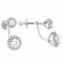 Серебряные пуссеты-джекеты Неженка с белым цирконием