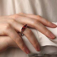 Серебряное кольцо Native с черно-красной эмалью