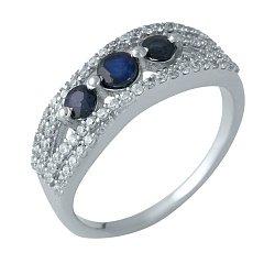 Серебряное кольцо с сапфирами и дорожками фианитов 000105473