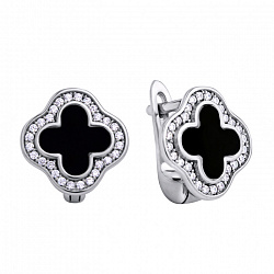 Серебряные серьги с ониксом и цирконием 000118088