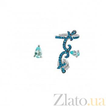 Асимметричные серебряные серьги Корнелия с голубым топазом и синими фианитами 000088414