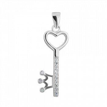 Серебряная подвеска-ключик с фианитами 000123054