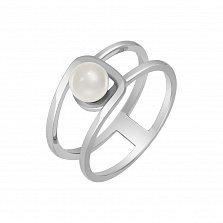 Кольцо в белом золоте Шум прибоя с жемчугом