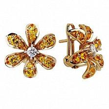 Золотые серьги с сапфирами и бриллиантами Лилия