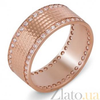 Обручальное кольцо из красного золота с цирконием Очарование 10139