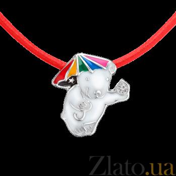 Детское колье Мишка под радужным зонтиком с эмалью и кристаллом Swarovski на кожаном шнурке 000080680