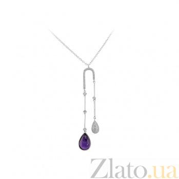 Серебряное колье Капель с фианитами и фиолетовым ювелирным стеклом 000081662