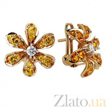 Золотые серьги с сапфирами и бриллиантами Лилия KBL--С2158/крас/сапф
