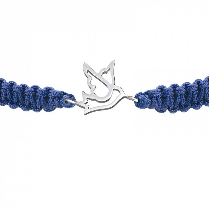 Синий плетеный браслет Птичка-невеличка с серебряной вставкой, 10х10мм 000080583