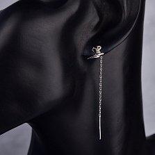 Серебряные серьги-подвески Ласточка с цепочкой