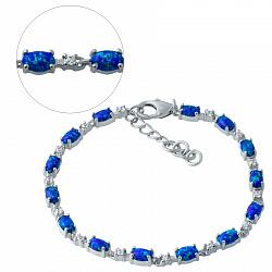 Серебряный браслет Ивонна с опалами и фианитами 000076288