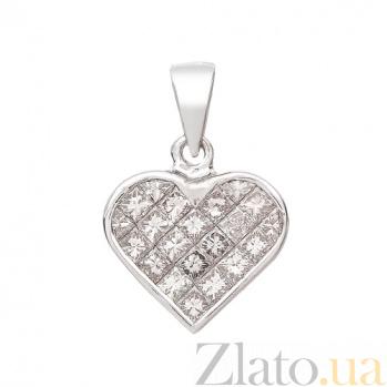 Золотой подвес в белом цвете с бриллиантами огранки принцесса Влюбленность P 035x