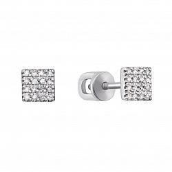 Серьги-пуссеты из белого золота с бриллиантами 000117287