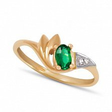 Золотое кольцо Анжелика с синтезированным изумрудом и фианитами