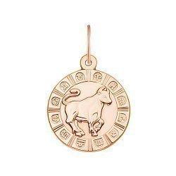 Золотой кулон Знак ЗодиакаТелец в красном цвете 000119542