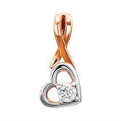 Золотой кулон в комбинированном цвете с кристаллом Swarovski 000135922