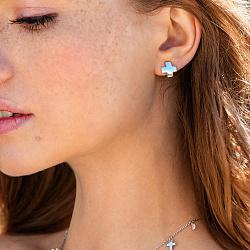 Серебряные серьги Крестики в стиле минимализм 000115791