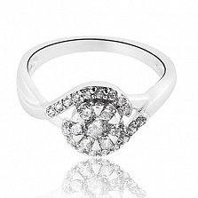 Серебряное кольцо Сирена с фианитами